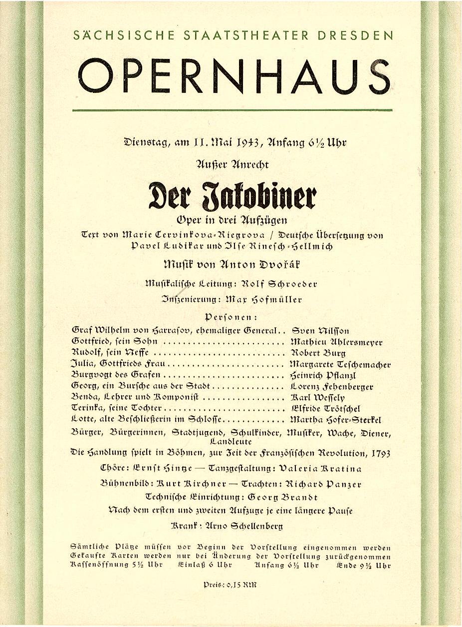 Programmheft Der Jakobiner Staatstheater Dresden, Opernhaus 1943