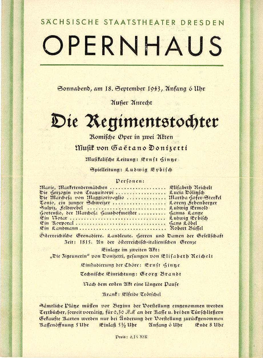 Programmheft Die Regimentstochter. Staatstheater Dresden, Opernhaus 1943