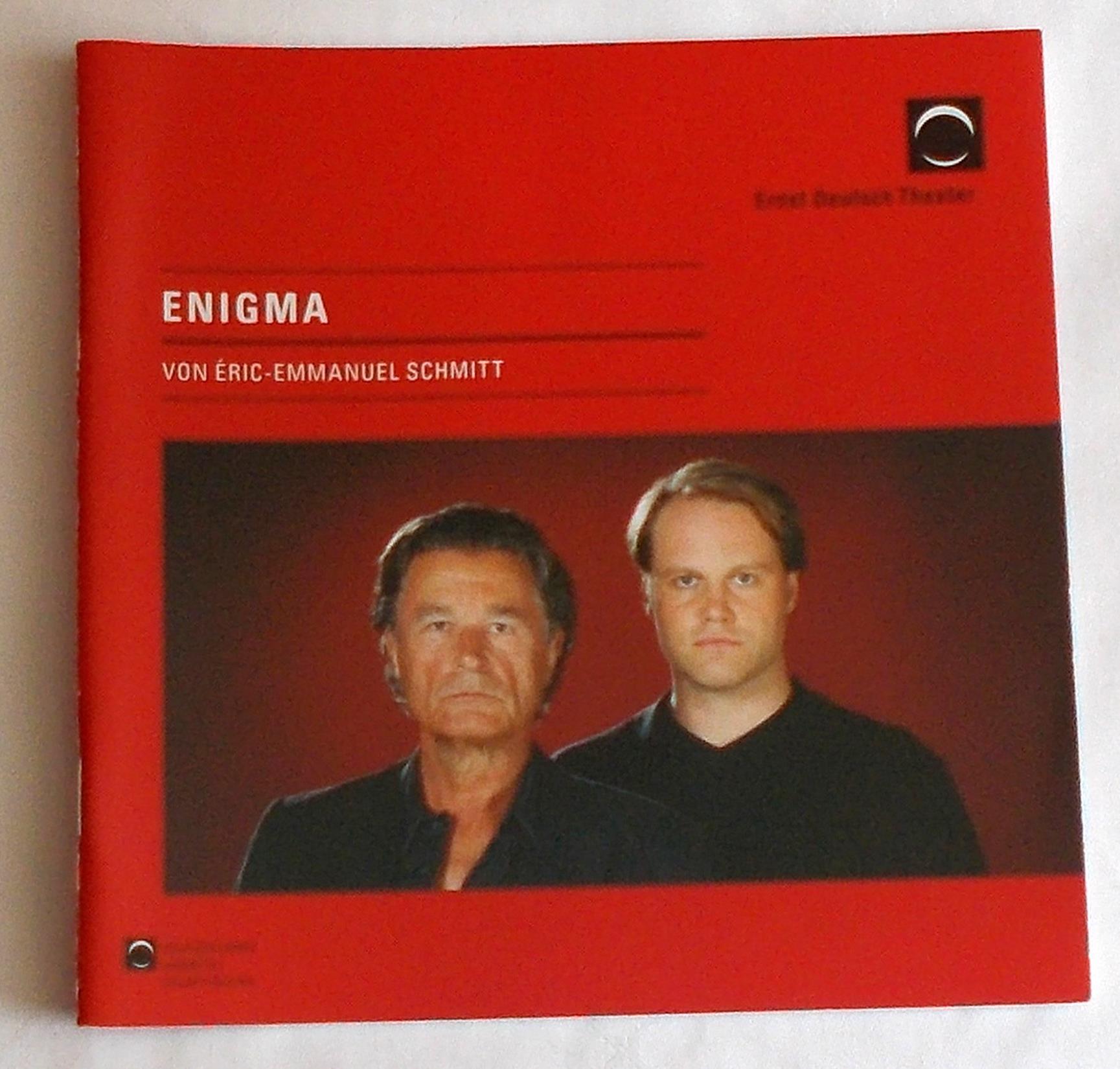 Programmheft ENIGMA von Eric-Emmanuel Schmitt. Ernst Deutsch Theater 2009
