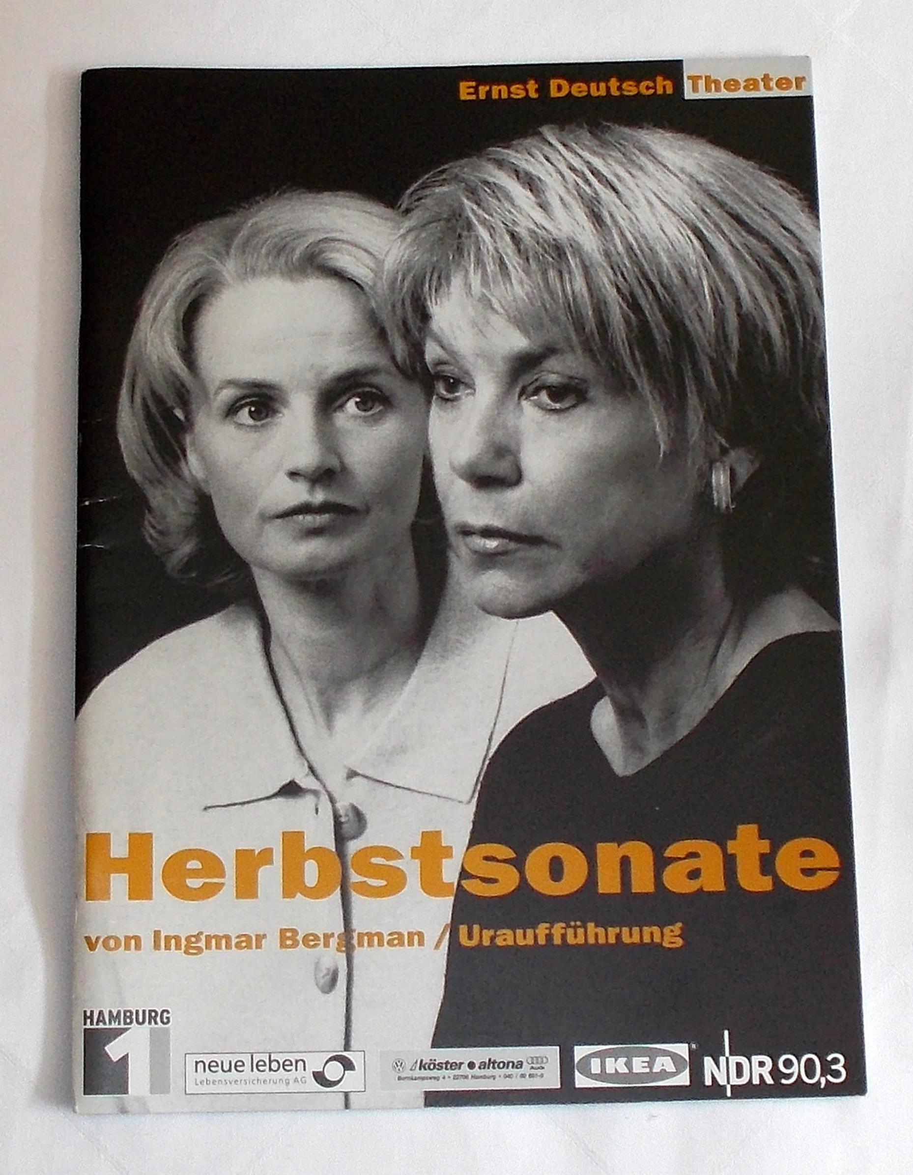 Programmheft Uraufführung Herbstsonate I. Bergmann Ernst Deutsch Theater 2002