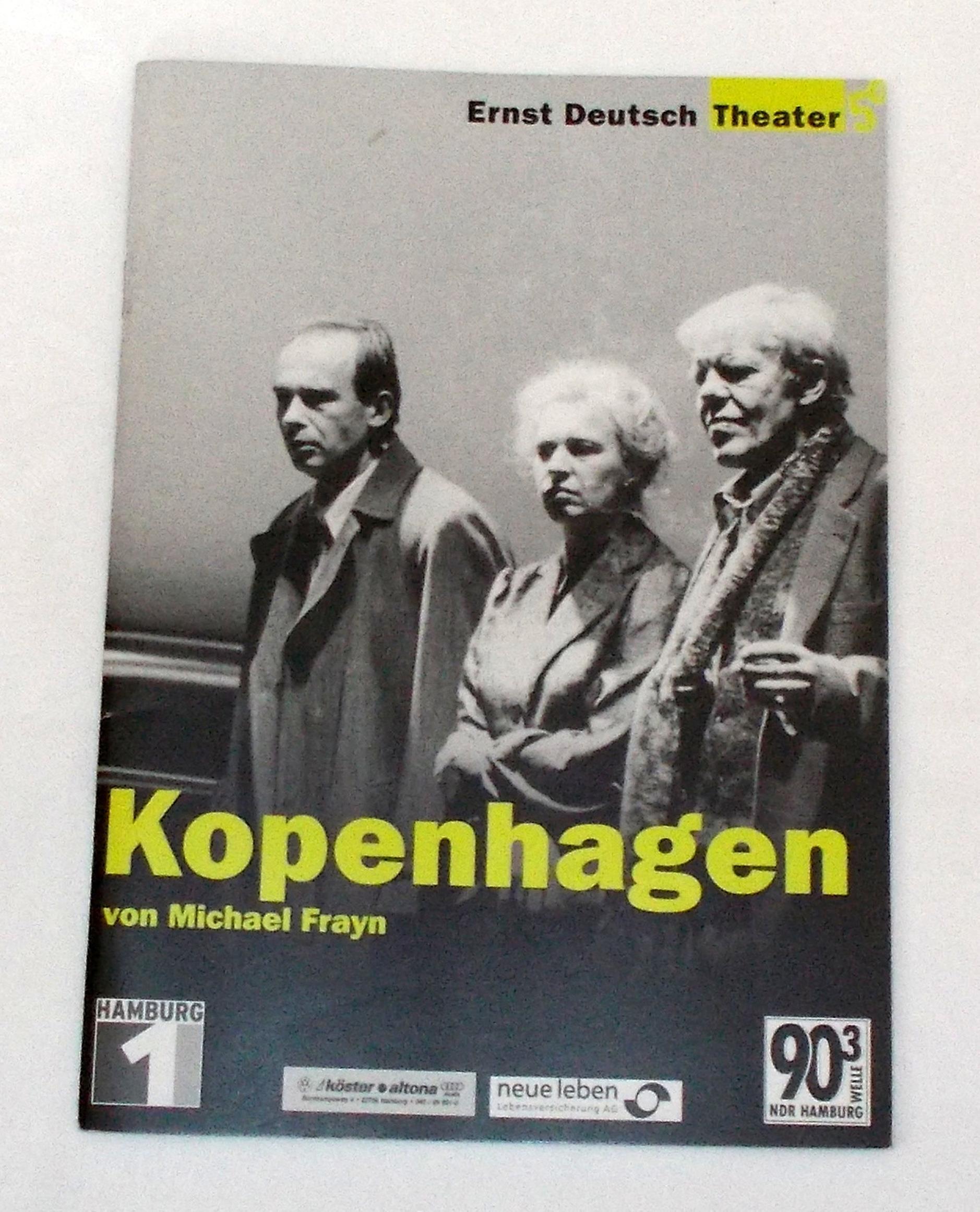 Programmheft KOPENHAGEN von Michael Frayn. Ernst Deutsch Theater 2002