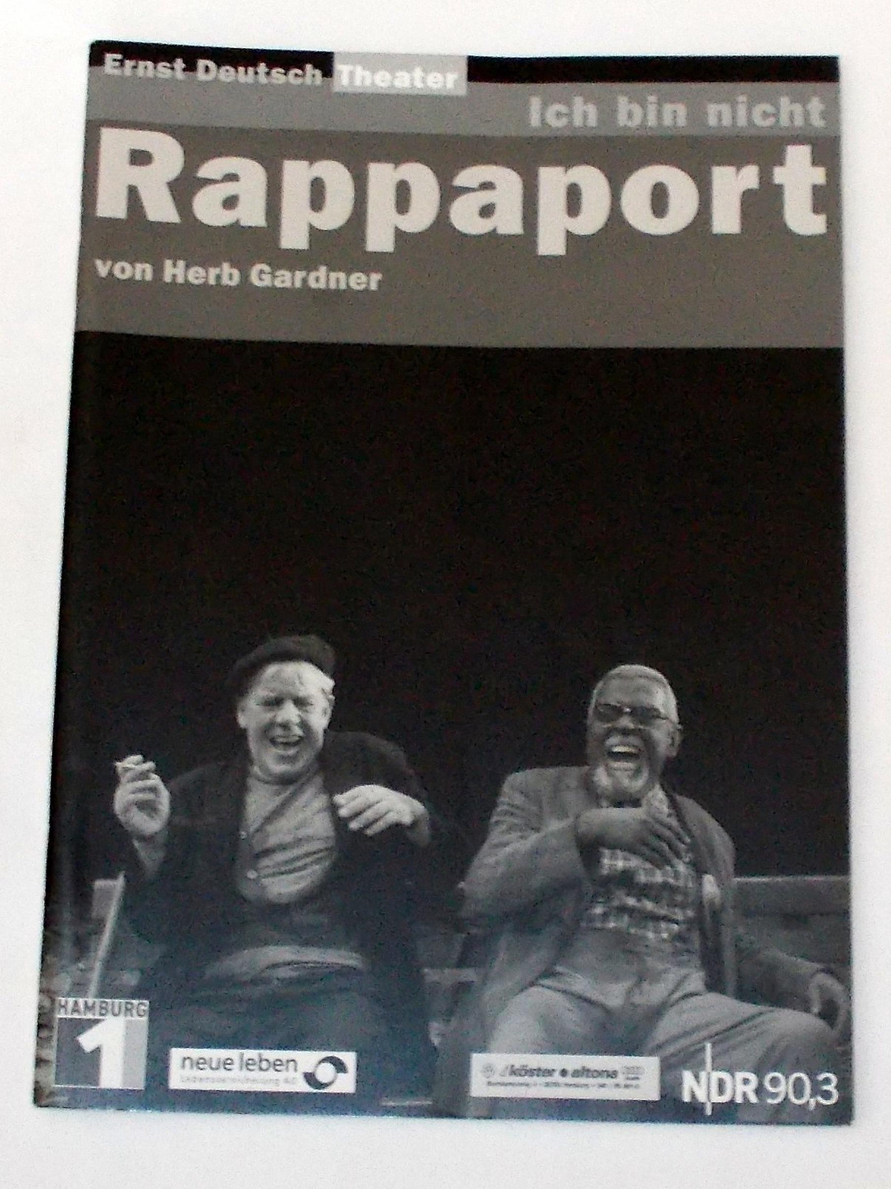 Programmheft Ich bin nicht Rappaport von Herb Gardner Ernst Deutsch Theater 2004