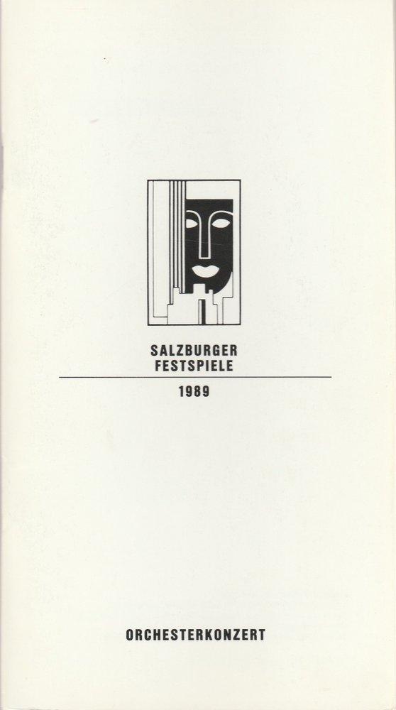 Programmheft ORCHESTERKONZERT ORF-SYMPHONIEORCHESTER Salzburger Festspiele 1989