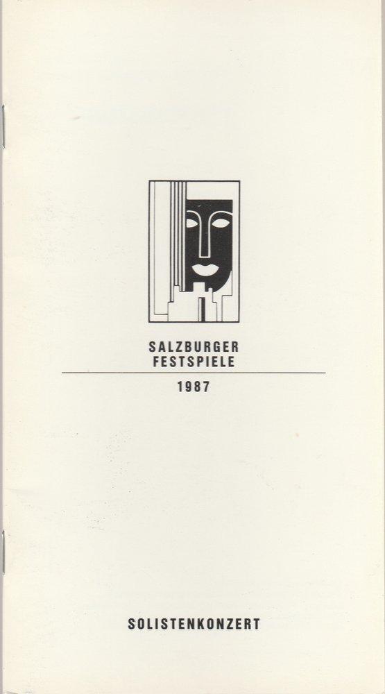 Programmheft SOLISTENKONZERT ALFRED BRENDEL Salzburger Festspiele 1987