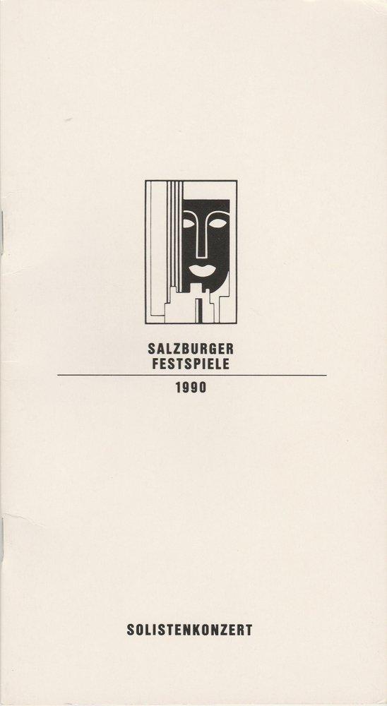 Programmheft SOLISTENKONZERT CHRISTIAN ALTENBURGER Salzburger Festspiele 1990