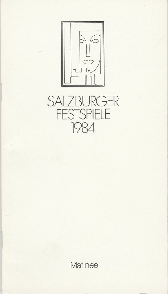 Programmheft FÜNFTE MOZART-MATINEE Salzburger Festspiele 1984