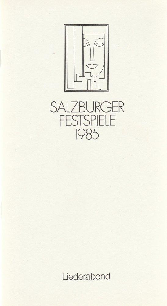 Programmheft LIEDERABEND DIETRICH FISCHER-DIESKAU Salzburger Festspiele 1985