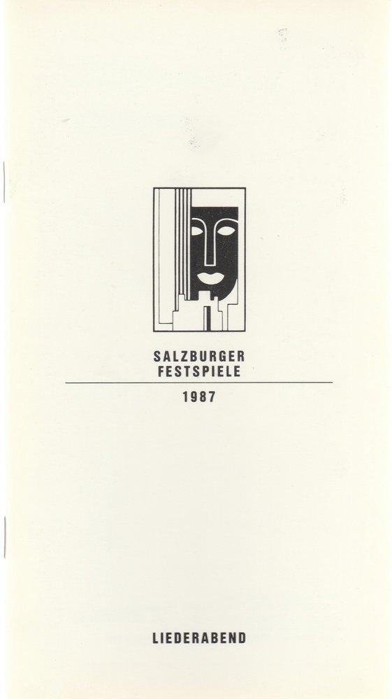 Programmheft LIEDERABEND HERMANN PREY Salzburger Festspiele 1987
