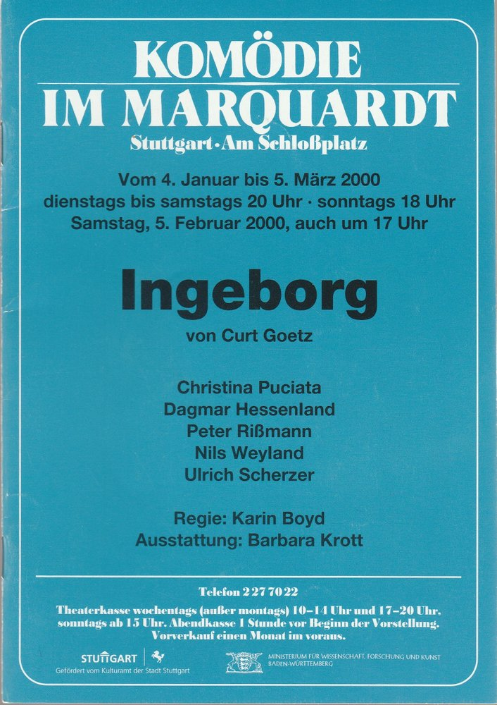 Programmheft Curt Goetz INGEBORG Komödie im Marquardt 2000