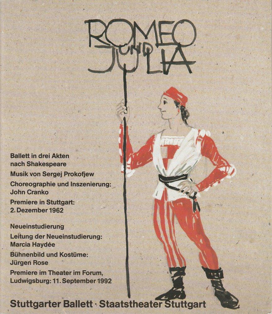 Programmheft ROMEO UND JULIA Stuttgarter Ballett 1992