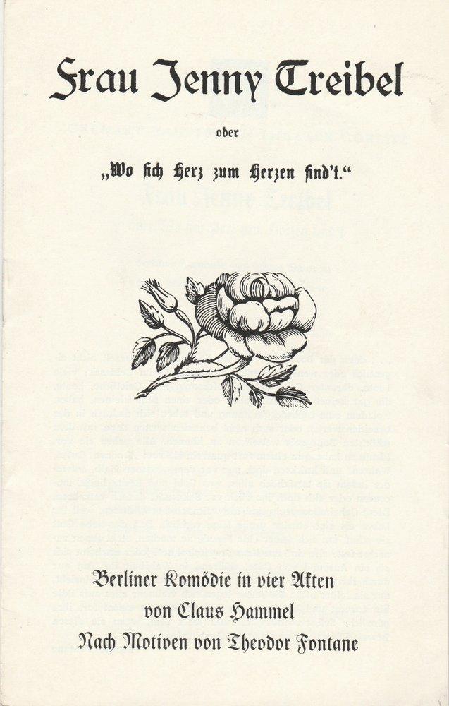 Programmheft Claus Hammel FRAU JENNY TREIBEL GHT Görlitz 1970