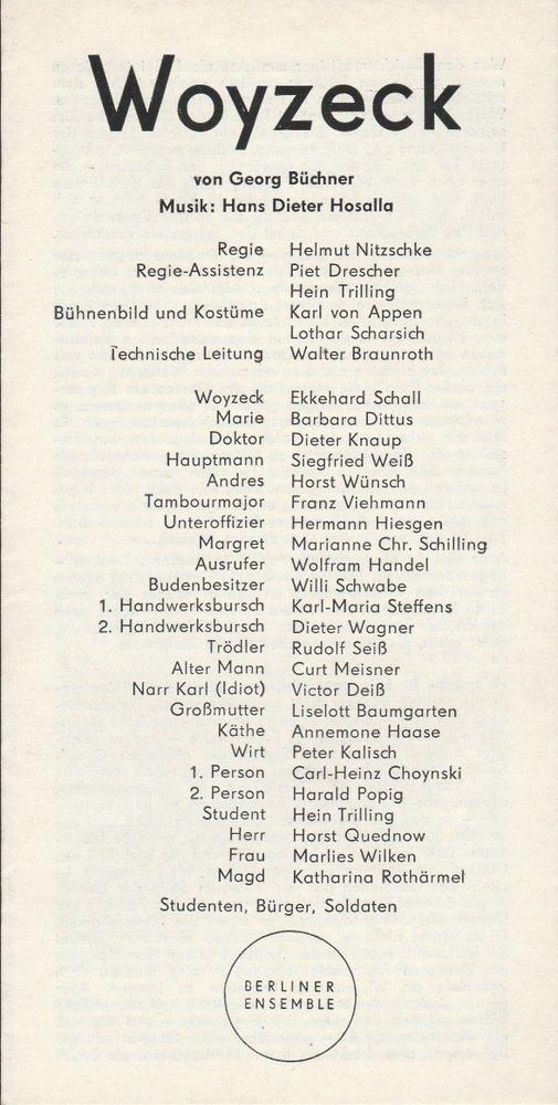 Programmheft Georg Büchner WOYZECK Berliner Ensemble 1970