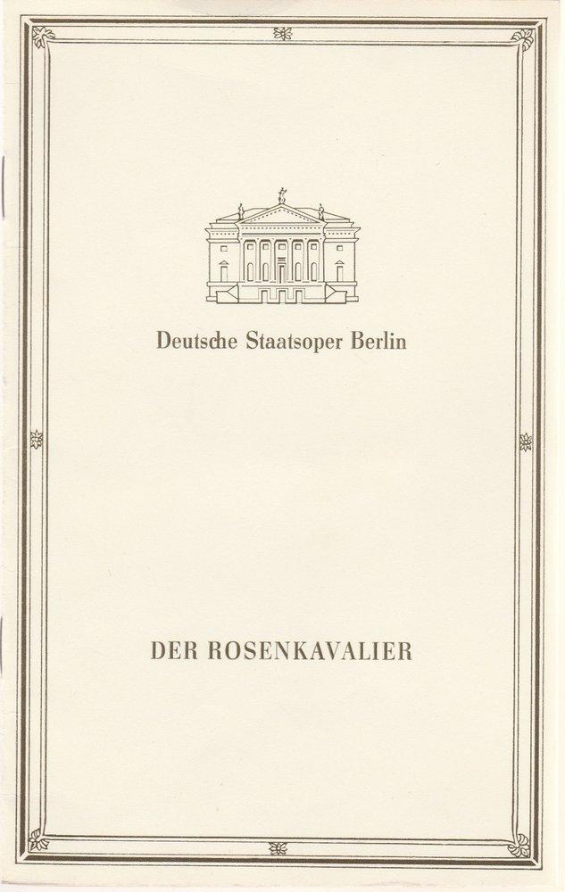 Programmheft Richard Strauss DER ROSENKAVALIER Deutsche Staatsoper Berlin 1987