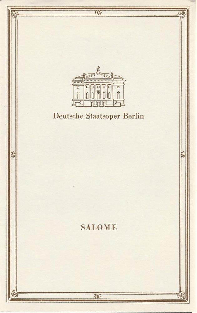 Programmheft Richard Strauss SALOME Deutsche Staatsoper Berlin 1987