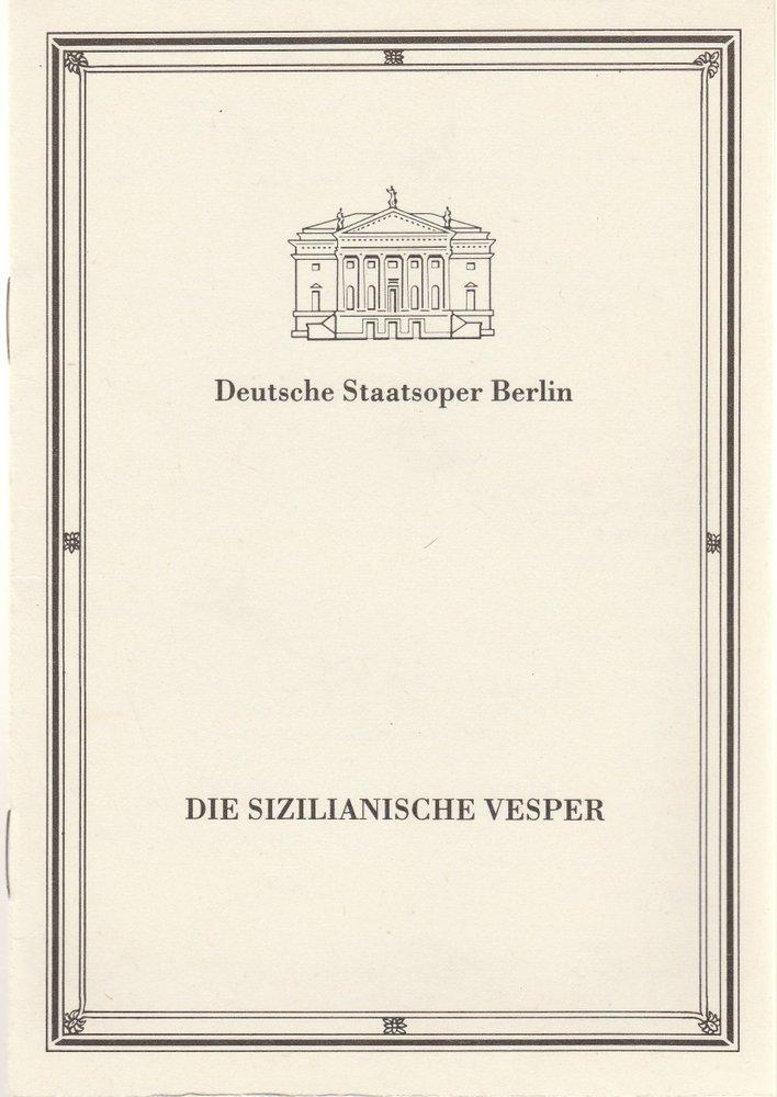 Programmheft Verdi DIE SIZILIANISCHE VESPER Deutsche Staatsoper Berlin 1986