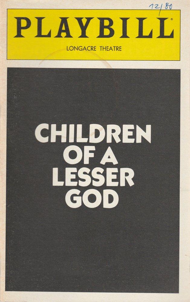 Programmheft CHILDREN OF A LESSER GOD December 1980 Playbill, LONGACRE THEATRE