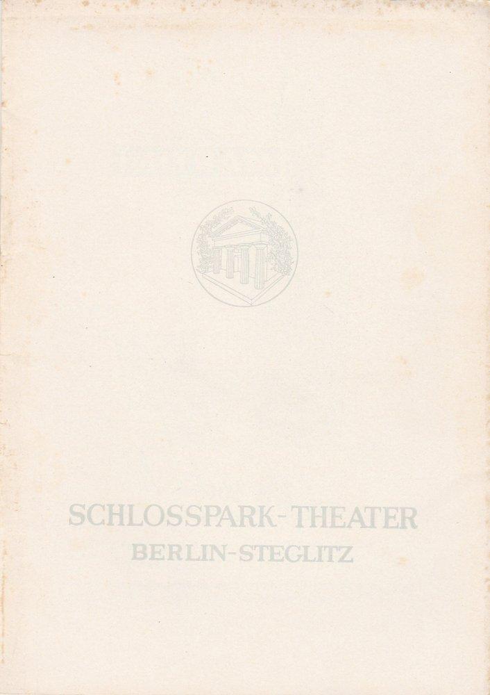 Programmheft William Saroyan DIE PARISER KOMÖDIE Schloßpark-Theater 1960