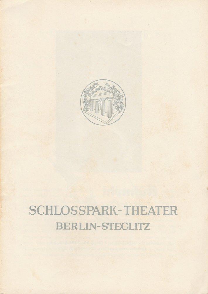 Programmheft  John Osborne DIE GLANZNUMMER Schloßpark-Theater 1958