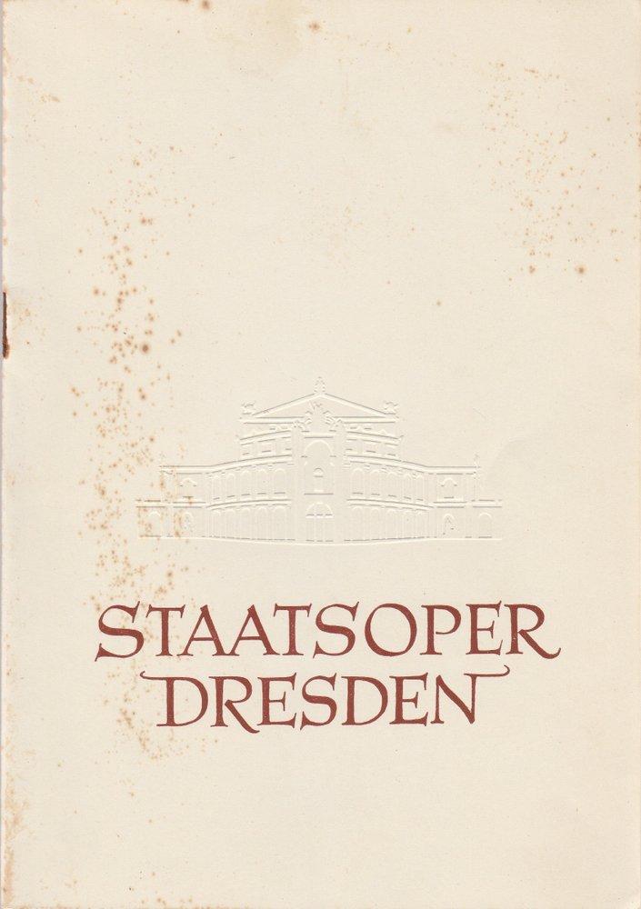 Programmheft Ludwig van Beethoven FIDELIO Staatsoper Dresden 1949