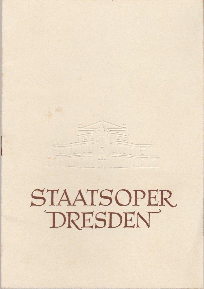 Programmheft Giuseppe Verdi AIDA Staatsoper Dresden 1957