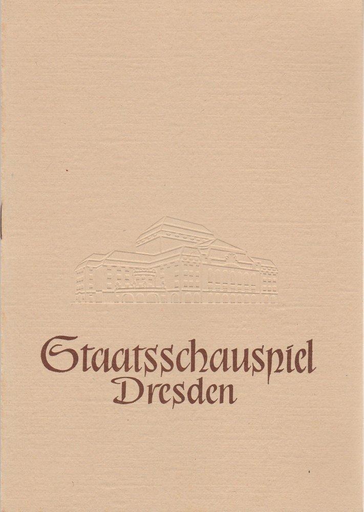 Programmheft William Shakespeare HAMLET Staatsschauspiel Dresden 1957