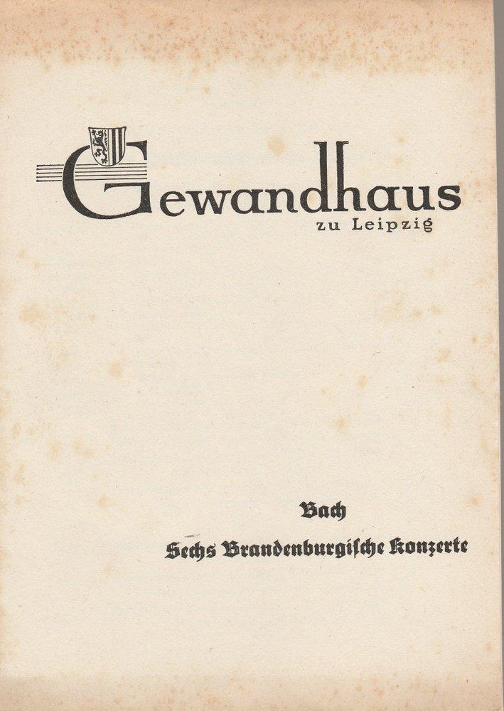 Programmheft J. S. Bach SECHS BRANDENBURGISCHE KONZERTE Gewandhaus Leipzig 1966