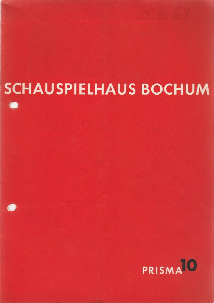 Programmheft  Brecht /  Weill DIE DREIGROSCHENOPER Schauspielhaus Bochum 1957