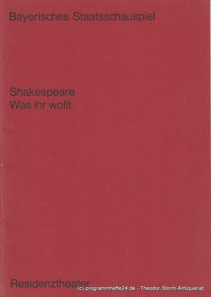 Programmheft Was Ihr wollt von William Shakespeare. Residenztheater München 1970