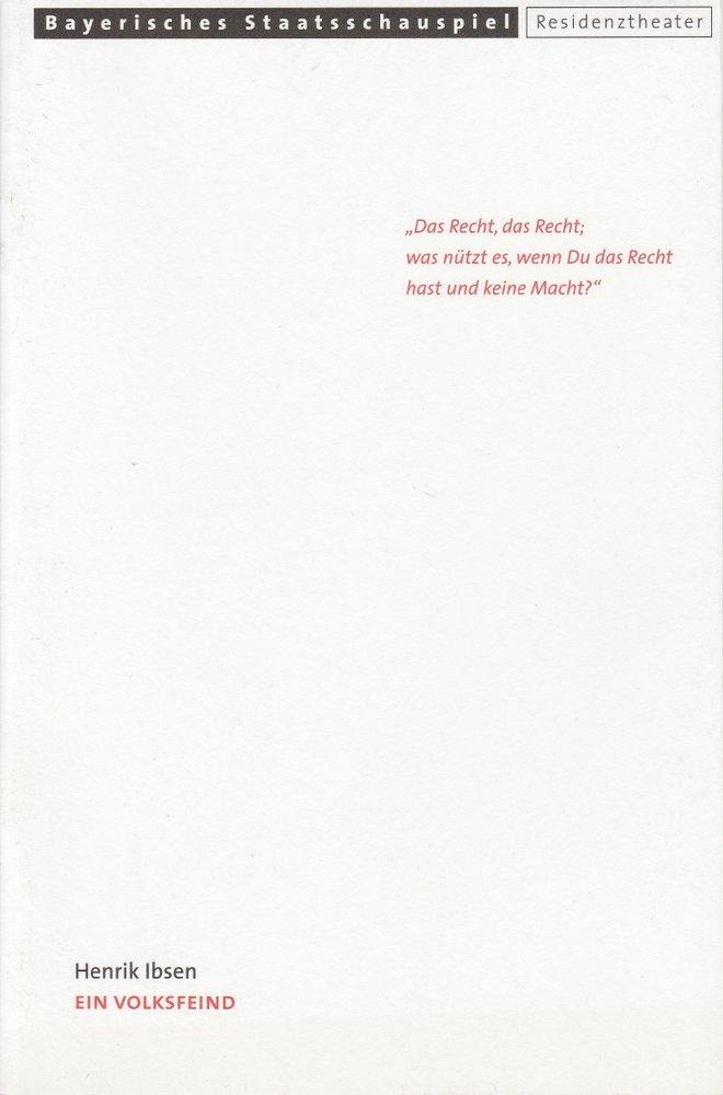 Programmheft Henrik Ibsen: Ein Volksfeind Residenztheater 2000