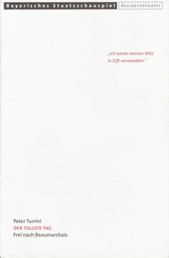 Programmheft Der tollste Tag von Peter Turrini Residenztheater 2000