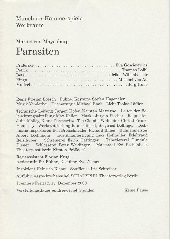 Programmheft PARASITEN von Marius von Mayenburg Münchner Kammerspiele 2000