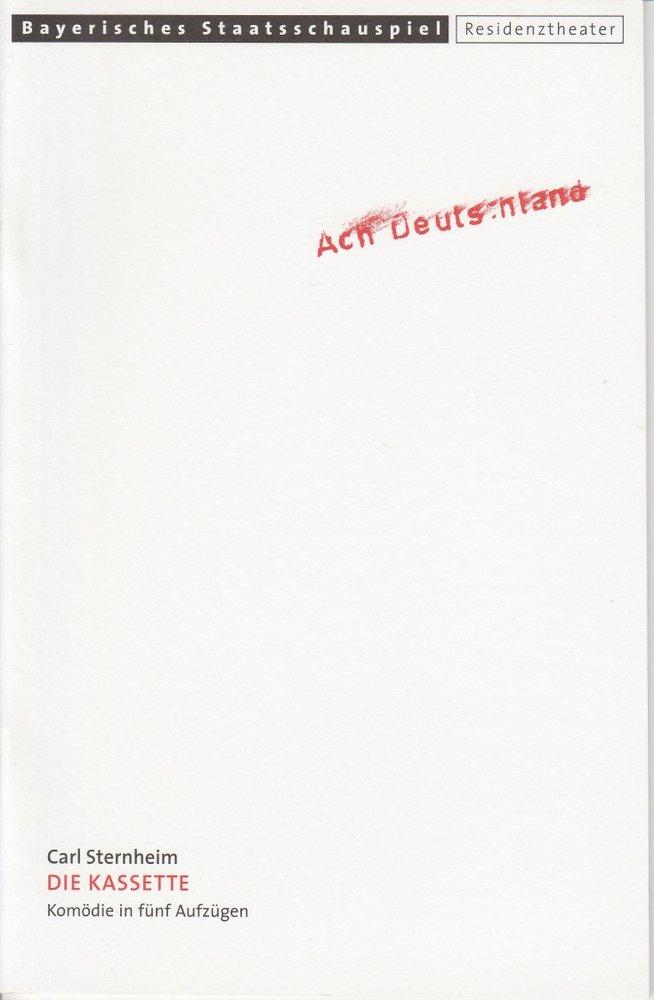Programmheft Carl Sternheim: Die Kassette Residenztheater 2000