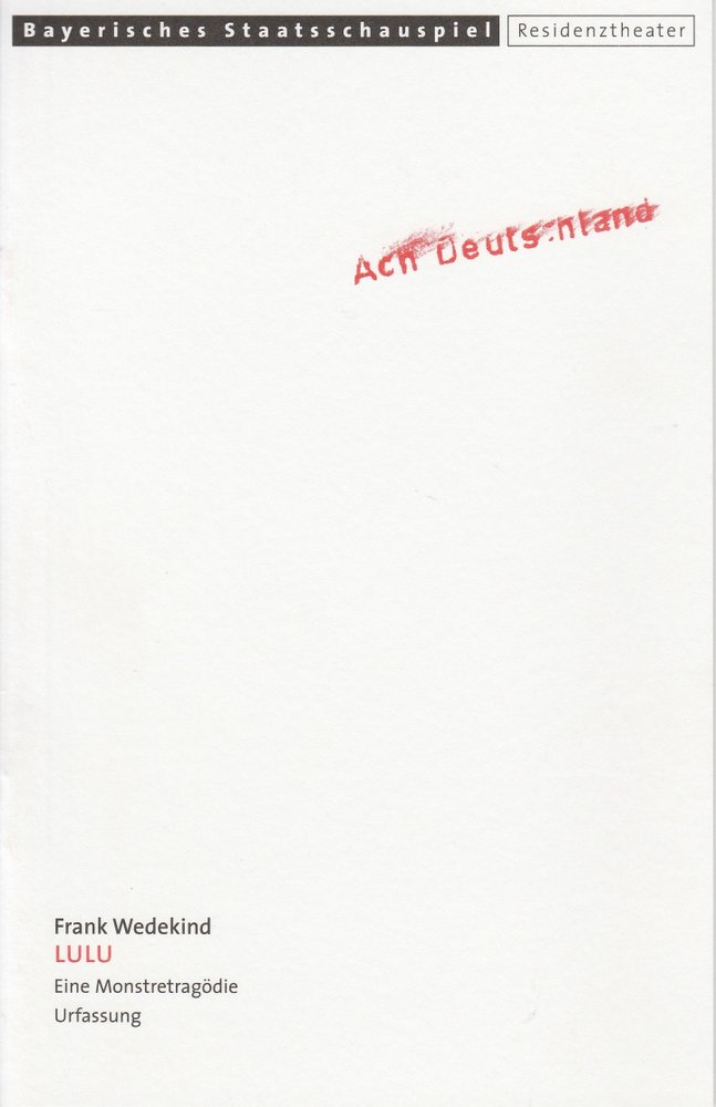 Programmheft Frank Wedekind: LULU Residenztheater 2000