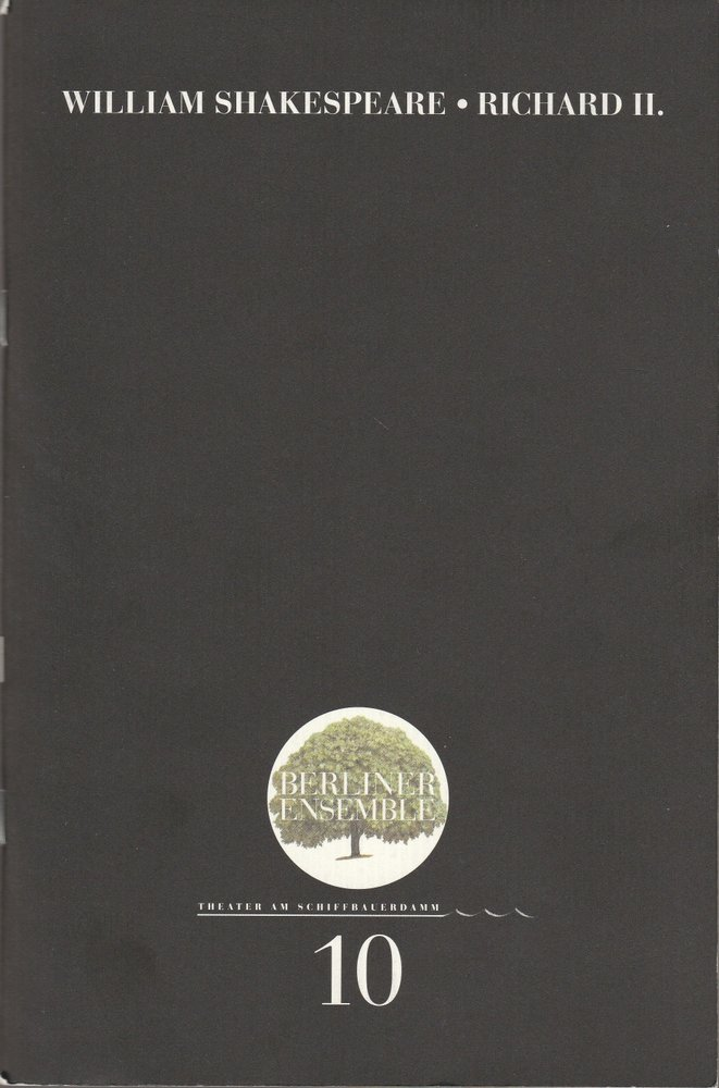 Programmheft Nr. 10 Richard II. Berliner Ensemble 2000