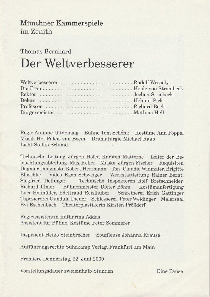 Programmheft Der Weltverbesserer von Thomas Bernhard Münchner Kammerspiele 2000