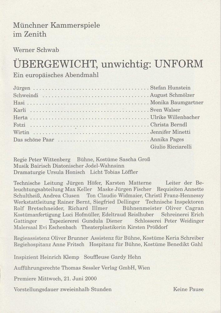 Programmheft ÜBERGEWICHT, unwichtig: UNFORM Münchner Kammerspiele 2000