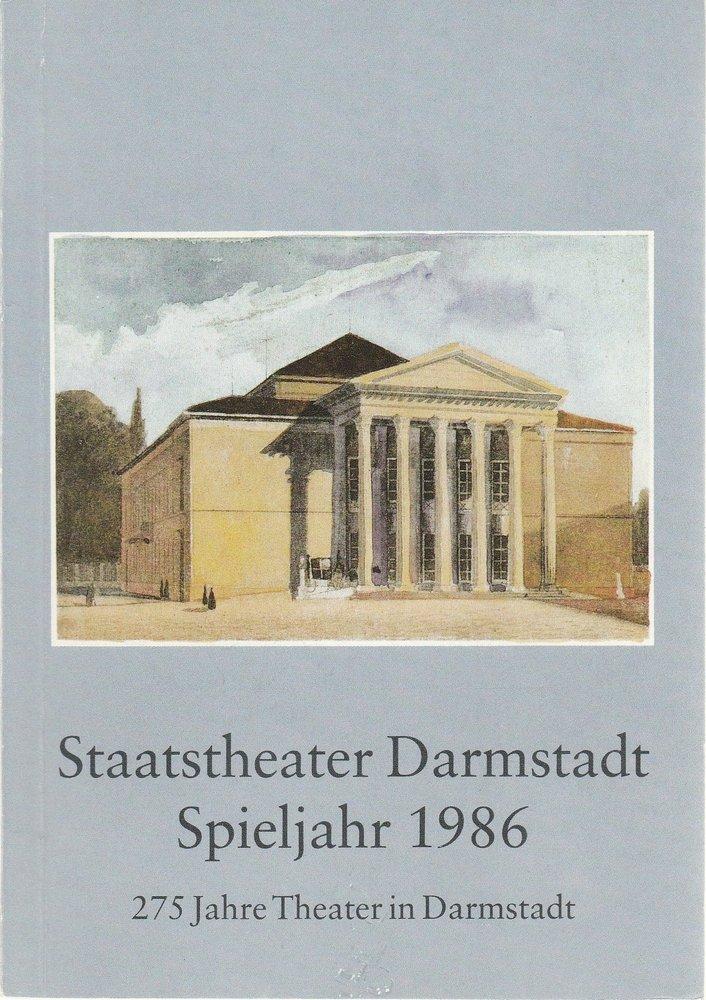 Staatstheater Darmstadt Spieljahr 1986 Spielzeitheft