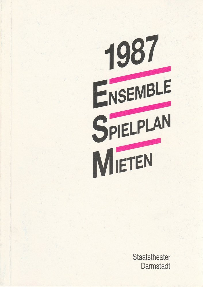 Staatstheater Darmstadt 1987 Ensemble Spielplan Mieten