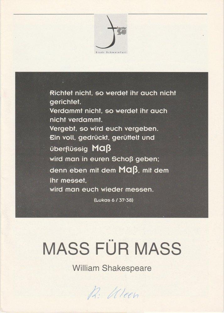 Programmheft William Shakespeare Maß für Maß Theater der Stadt Schweinfurt 1993