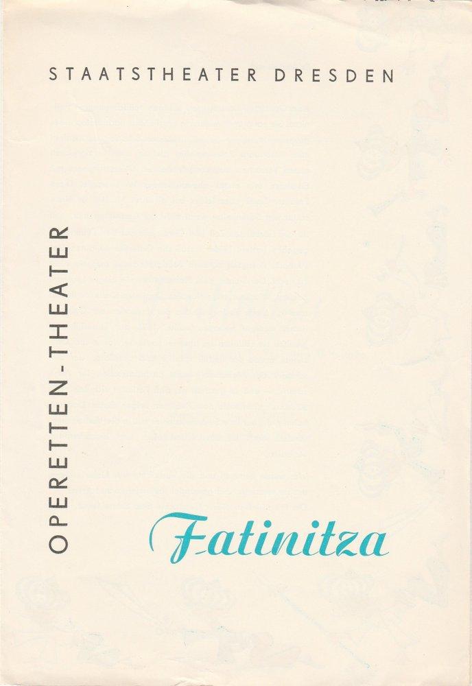 Programmheft Franz von Suppe: Fatinitza Operetten-Theater Dresden 1963