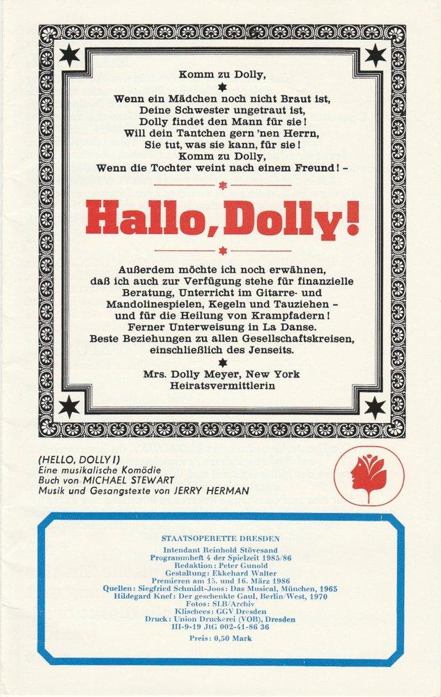 Programmheft Jerry Herman: Hallo, Dolly ! Staatsoperette Dresden 1986