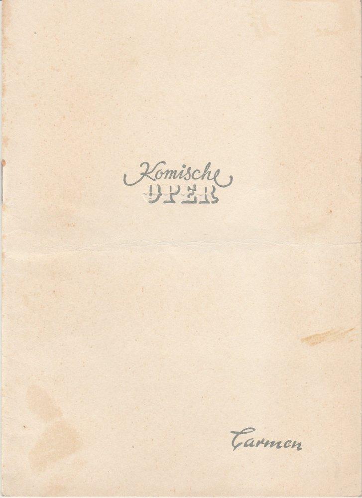 Programmheft Georges Bizet: CARMEN Komische Oper Berlin 1953