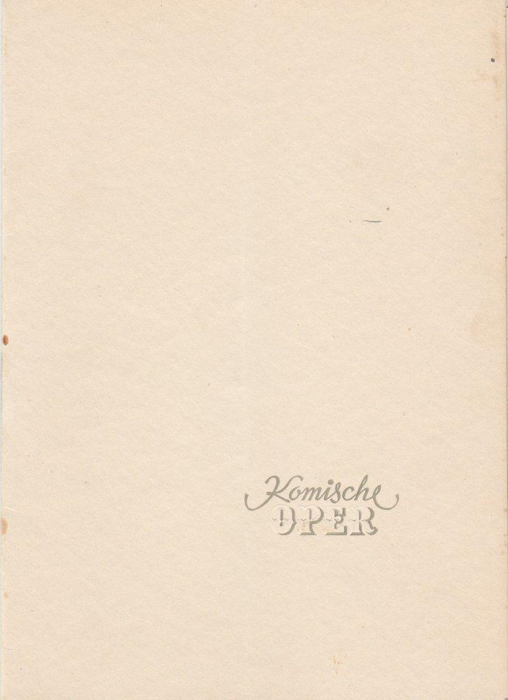 Programmheft Carl Maria von Weber: DER FREISCHÜTZ Komische Oper Berlin 1953