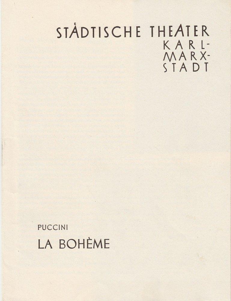 Programmheft Giacomo Puccini LA BOHEME Städtische Theater Karl-Marx-Stadt 1958
