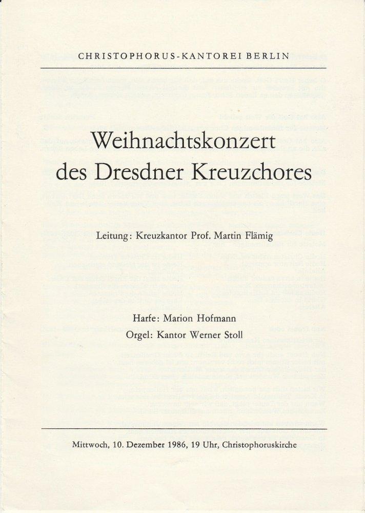 Programmheft Weihnachtskonzert des Dresdner Kreuzchores Berlin 1986
