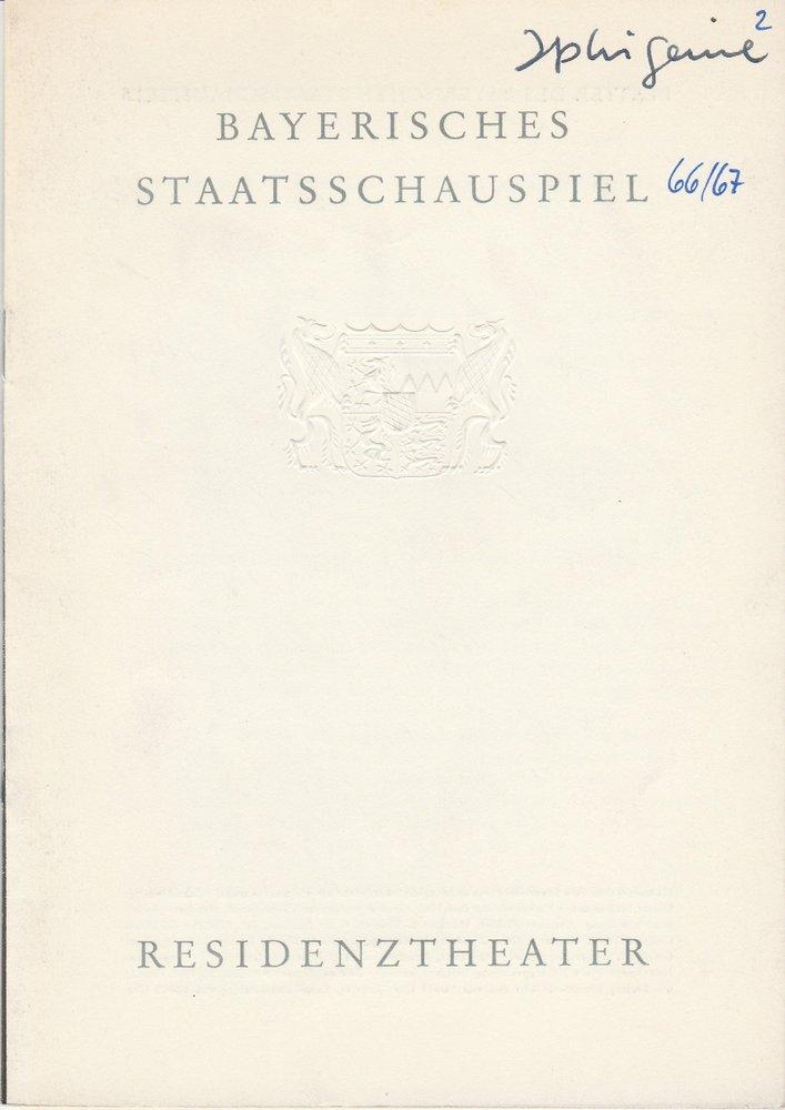 Programmheft Goethe IPHIGENIE AUF TAURIS Residenztheater 1966