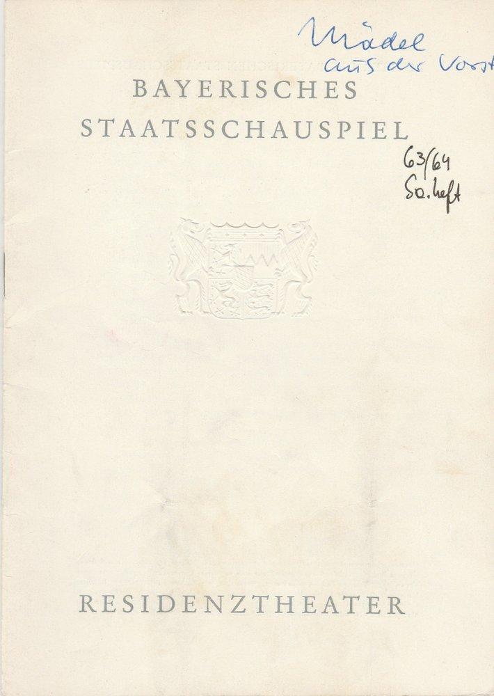 Programmheft Johann Nestroy DAS MÄDEL AUS DER VORSTADT Residenztheater 1963