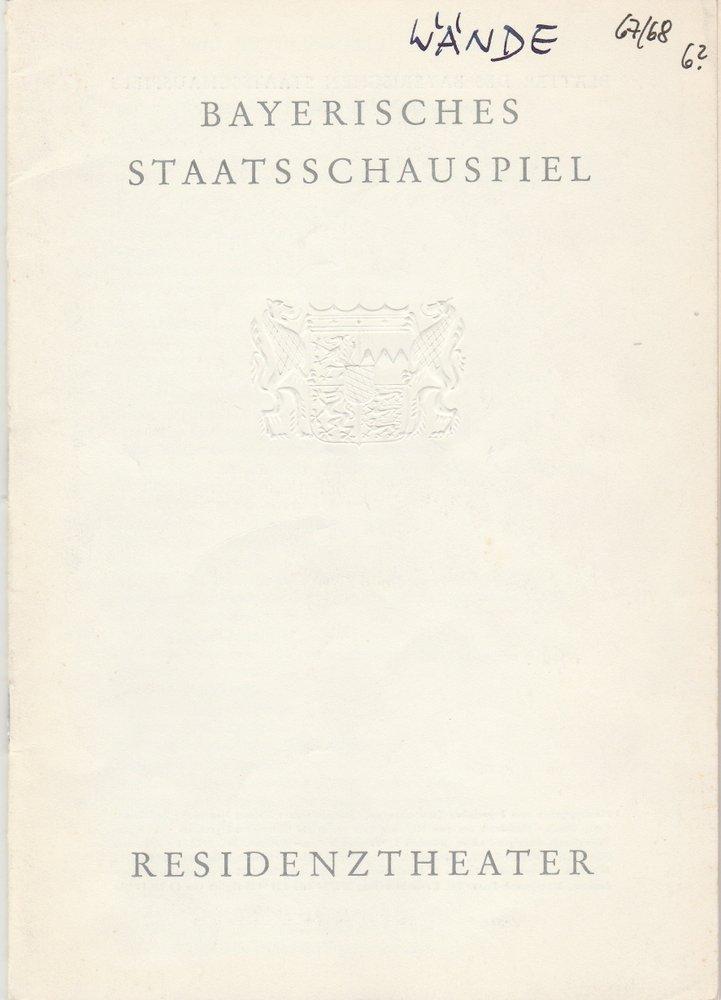 Programmheft Jean Genet DIE WÄNDE Residenztheater 1968