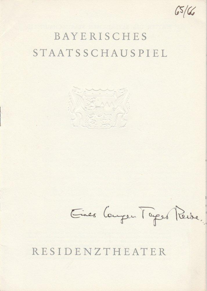 Programmheft O'Neill EINES LANGEN TAGES REISE IN DIE NACHT Residenztheater 1966