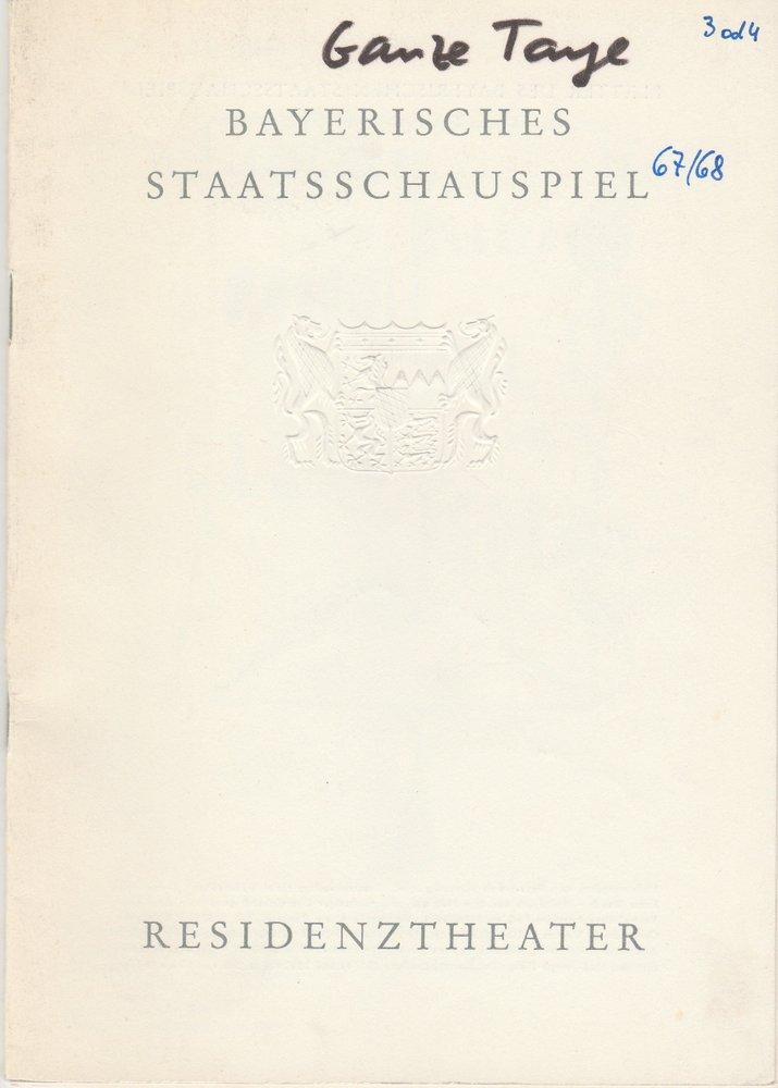 Programmheft Marguerite Duras GANZE TAGE IN DEN BÄUMEN Residenztheater 1967